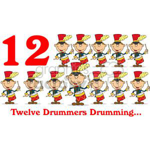 On the 12th day of Christmas my true love gave to me Twelve Drummers Drumming clipart. Royalty-free image # 377873