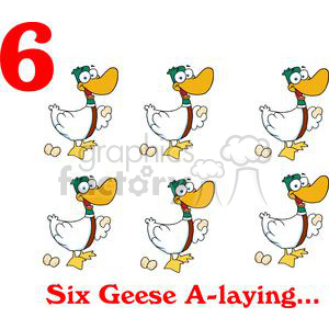 On the 6th day of Christmas my true love gave to me Six Geese A laying clipart. Royalty-free image # 377883