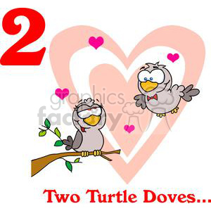 On the 2nd day of Christmas my true love gave to me Two Turtle Doves clipart. Royalty-free image # 377893