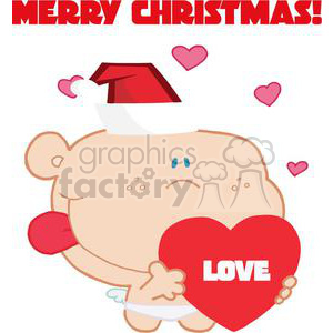 Baby holding love heart wearing santa hat With Merry Christmas Above clipart. Royalty-free image # 377897