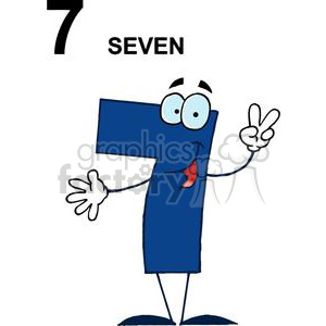 number numbers seven 7 cartoon blue finger peach sign