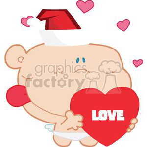 Romantic Chirstmas Cupid with Heart that spells Love on it clipart. Royalty-free image # 377917