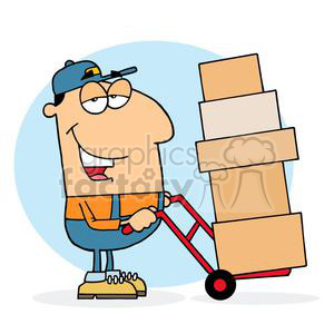 A postman using a dolly to move boxes clipart. Royalty-free image # 377927