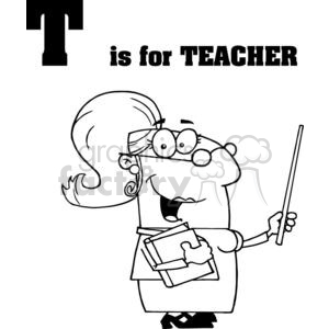 alphabet letter t teacher holding a pointer and books