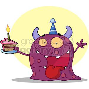 Happy Purple Horned Monster Celebrates Birthday With Cake clipart. Royalty-free image # 377957