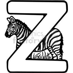 cartoon black white letter z zebra
