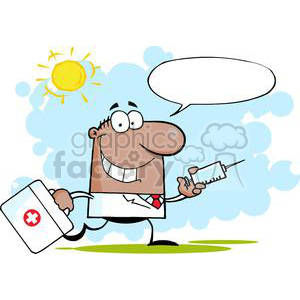 2908-African-American-Doctor-Running-With-A-Syringe-And-Bag clipart. Commercial use image # 380292