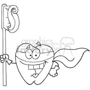 2976-Smiling-Superhero-Tooth-With-Toothbrush clipart. Commercial use image # 380297