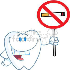 2927-Happy-Smiling-Tooth-Holding-Up-A-No-Smoking-Sign clipart. Commercial use image # 380317