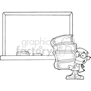 2995-Student-With-Books-In-Front-Of-School-Chalk-Board clipart. Commercial use image # 380337
