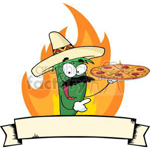 cartoon funny illustration pizza pepper hot fire