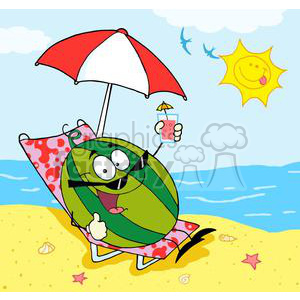 cartoon watermelon holding a glass with juice on the beach