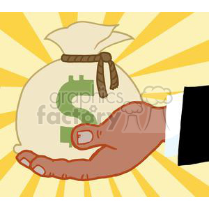 2856-African-American-Bussines-Hand-Holding-Money-Bag clipart. Royalty-free image # 380352
