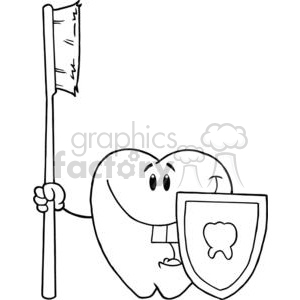 2920-Happy-Smiling-Tooth-With-Toothbrush-And-Shield clipart. Royalty-free image # 380357