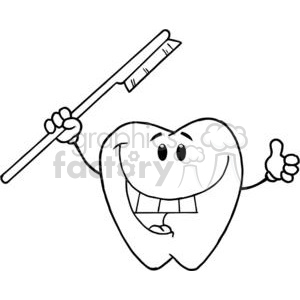 2932-Happy-Smiling-Tooth-With-Toothbrush clipart. Commercial use image # 380362