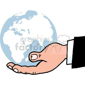 2818-Bussines-Hand-Holding-Globe clipart. Commercial use image # 380377