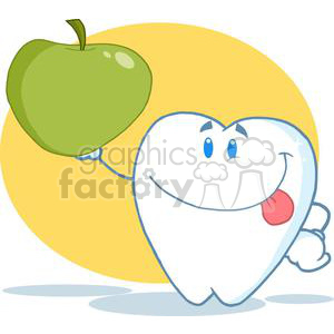 2983-Smiling-Tooth-Cartoon-Character-Holding-Up-A-Green-Apple clipart. Royalty-free image # 380402
