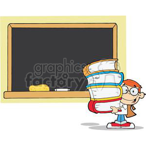 2997-Student-With-Books-In-Front-Of-School-Chalk-Board clipart. Royalty-free image # 380417