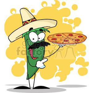 2893-Sombrero-Chile-Pepper-Holds-Up-Pizza clipart. Royalty-free image # 380422