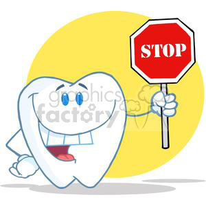 2951-Happy-Smiling-Tooth-Holding-Up-A-Stop-Sign clipart. Commercial use image # 380427