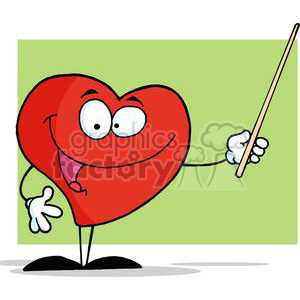 2918-Red-Heart-Holding-A-Pointer clipart. Royalty-free image # 380432