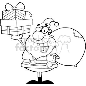 3006-Santa-Holding-Up-A-Stack-Of-Gifts clipart. Commercial use image # 380452