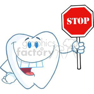 2950-Happy-Smiling-Tooth-Holding-Up-A-Stop-Sign clipart. Commercial use image # 380472