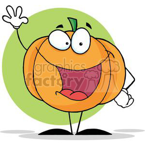 2884-Happy-Pumpkin-Waving-A-Greeting clipart. Commercial use image # 380492