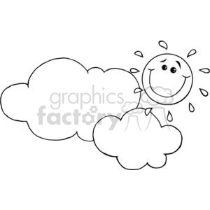 2731-Smiling-Sun-Behind-Cloud-Cartoon-Character clipart. Royalty-free image # 380512