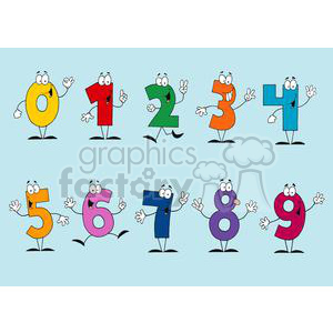 2814-Friendly-Outlined-Cartoon-Numbers-Set clipart. Commercial use image # 380542