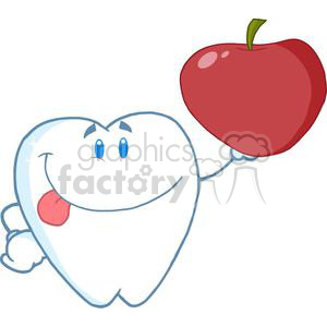 2944-Smiling-Tooth-Cartoon-Character-Holding-Up-A-Apple