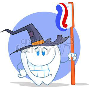 2954-Happy-Smiling-Halloween-Tooth-With-Toothbrush clipart. Commercial use image # 380562