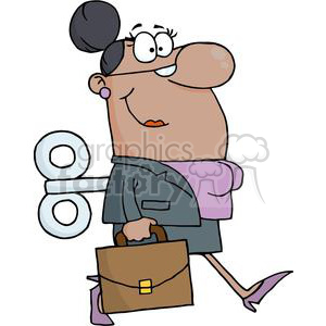 3258-African-American-Businesswoman-With-Wind-up-Key-In-His-Back clipart. Royalty-free image # 380566