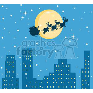 cartoon vector occassions funny Christmas Santa sleigh reindeer city skyline