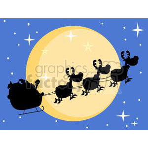 3139-Black-Silhouette-Of-Santa-And-A-Reindeers-Flying-In-A-Sleigh clipart. Commercial use image # 380576