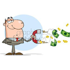 3161-Businessman-Using-A-Magnet-To-Attracts-Money clipart. Royalty-free image # 380581