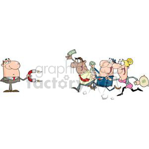 3179-Businessman-Using-A-Magnet-Attracts-People-With-Money clipart. Royalty-free image # 380596