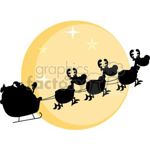 3138-Black-Silhouette-Of-Santa-And-A-Reindeers-Flying-In-A-Sleigh clipart. Commercial use image # 380626