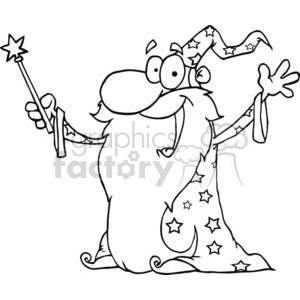 black and white wizard waving wearing a cape holding a magic wand