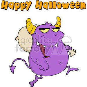 cartoon vector occassions funny Halloween October scary monster monsters purple costume happy