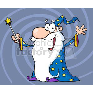 happy wizard holding a magic wand clipart. Royalty-free image # 380651