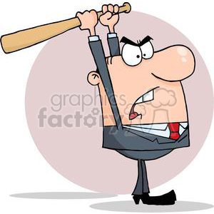 Angry Businessman With Baseball Bat clipart. Royalty-free image # 380676
