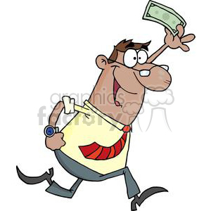 3176-Happy-African-American-Businessman-Running-With-Dollar-In-Hand clipart. Commercial use image # 380686