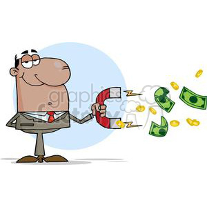 3163-African-American-Businessman-Using-A-Magnet-To-Attracts-Money clipart. Commercial use image # 380696