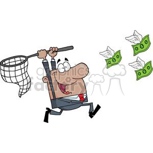 3297-Happy-African-American-Businessman-Chasing-Money clipart. Royalty-free image # 380701