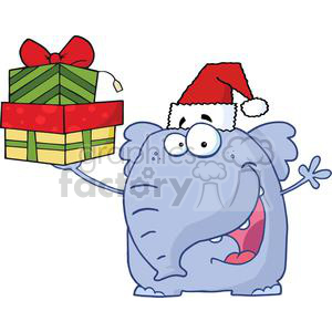 3291-Happy-Christmas-Elephant-Holds-Up-Gifts clipart. Commercial use image # 380711