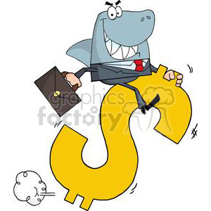 shark businessman riding on a dollar symbol clipart. Commercial use image # 380716