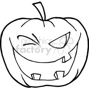 Black and White Halloween Jack-o-lantern  Winking clipart. Commercial use image # 380731