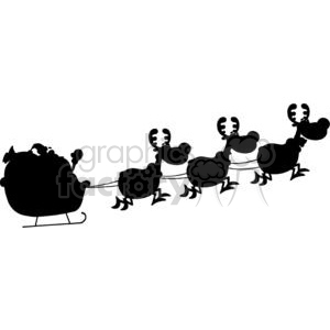 3137-Black-Silhouette-Of-Santa-And-A-Reindeers-Flying-In-A-Sleigh clipart. Commercial use image # 380741