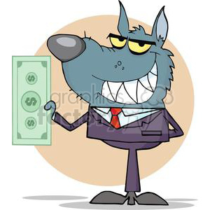 3281-Smiled-Wolf-Business-man-Holding-Cash clipart. Commercial use image # 380751